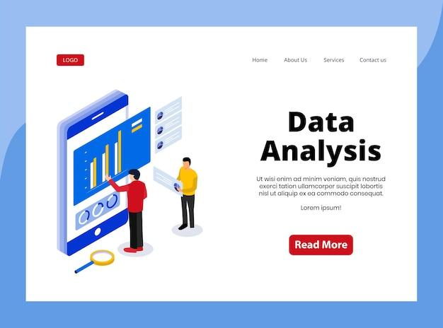 Isometric landing page of data analysis