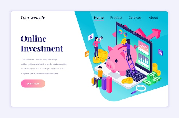 Isometric landing page design concept of business investment. people putting coin money into a piggy bank, profit income with financial graph and chart