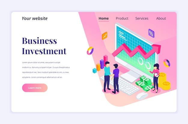 ビジネス投資の等尺性のランディングページのデザインコンセプト。彼らのビジネスへの投資に同意して握手する2人のビジネスマン
