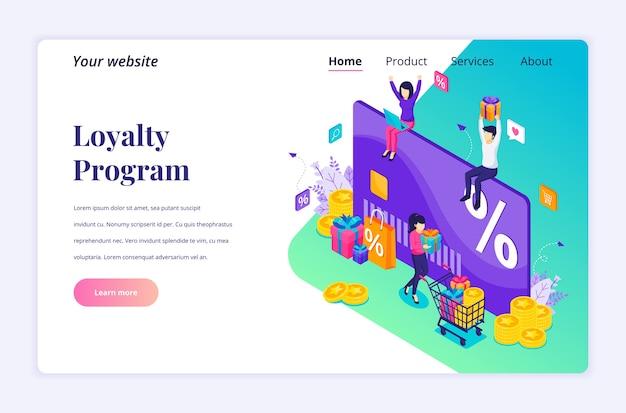 Концепция дизайна изометрической целевой страницы маркетинговой программы лояльности. люди получают подарочную коробку, дисконтную карту и карту лояльности, бонусные баллы и бонусы.
