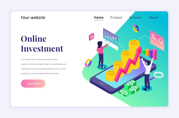 オンライン投資の等尺性のランディングページのデザインコンセプト。人々は携帯電話で財務チャートやグラフ、利益収入を分析します