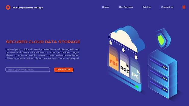 クラウドデータストレージサービスのアイソメトリックランディングページデザイン