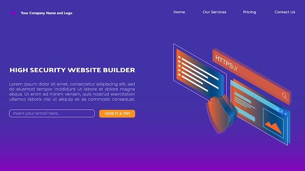 ウェブサイトビルダーまたはウェブサイトホスティングサービスのアイソメトリックランディングページデザイン