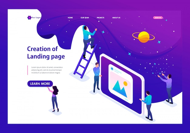 Isometric landing page of development and creation of a website, little men.