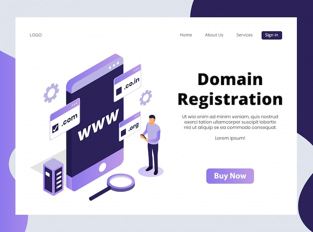 Isometric landing page of domain registration