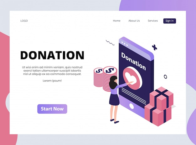 Isometric landing page of donation