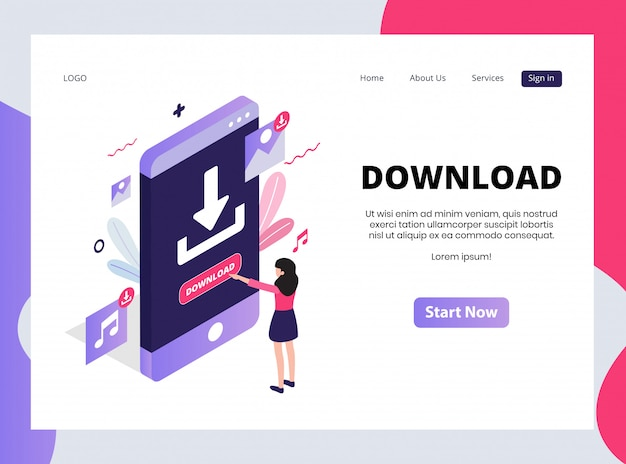 Isometric landing page of download