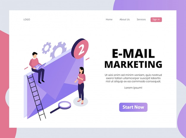 Isometric landing page of e-mail marketing