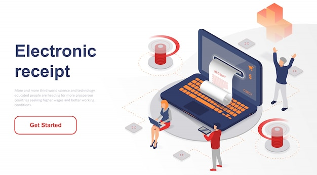 Isometric landing page electronic receipt or invoice
