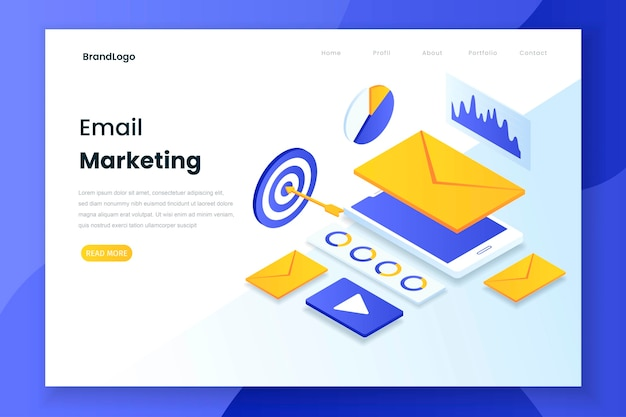 Isometric landing page of email marketing