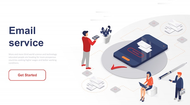 Isometric landing page email service or mobile app