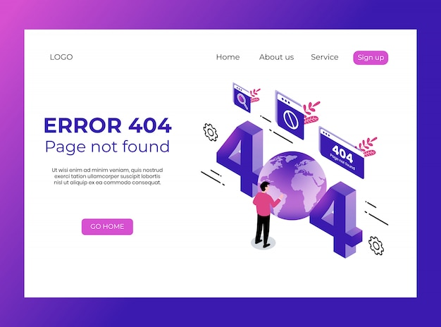 Isometric landing page of error, page not found premium template