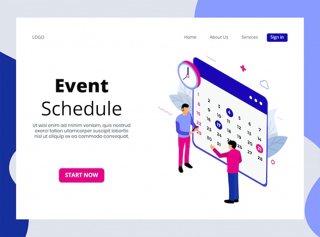 Isometric landing page of event schedule
