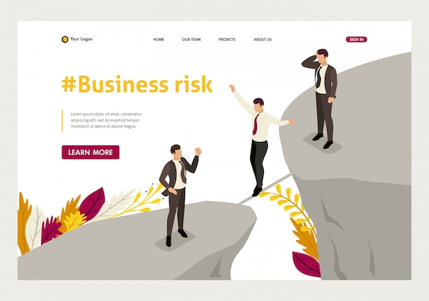Isometric landing page of fear and overcoming risks in business.