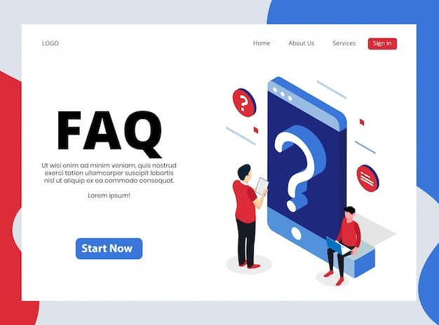 Isometric landing page of frequently asked question
