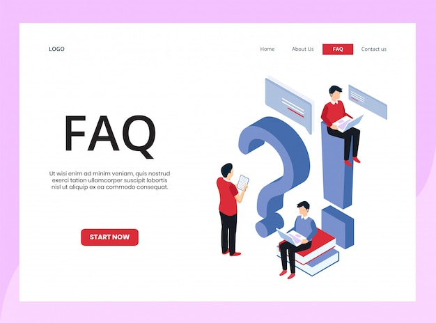 Isometric landing page of frequently asked questions