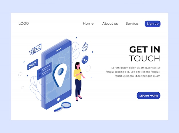 Isometric landing page of get in touch