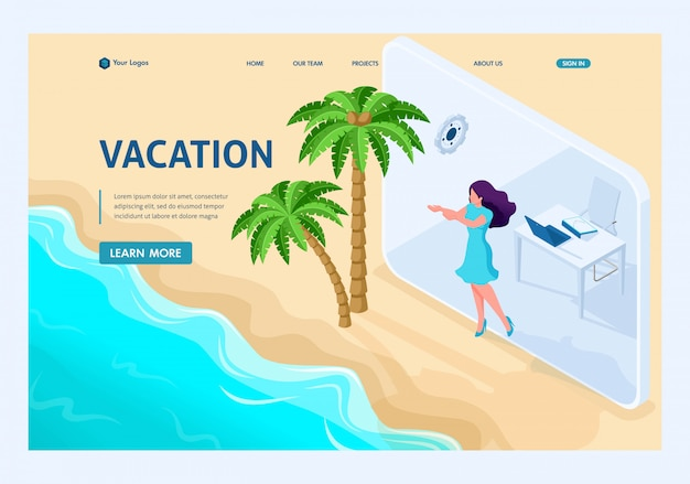 Isometric landing page of girl goes from office to vacation via tablet.