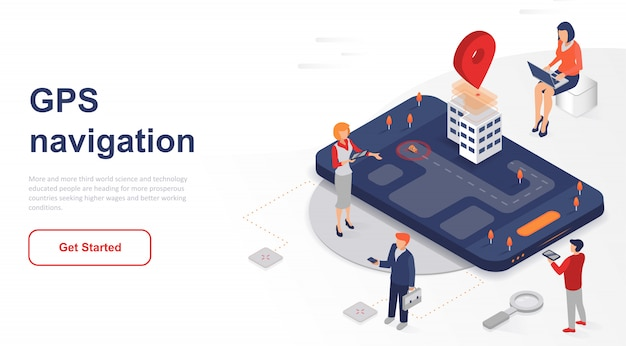Isometric landing page gps navigation or support