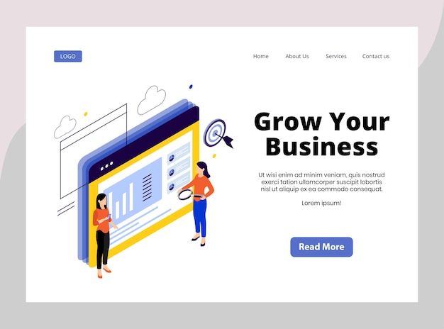 Isometric landing page of grow your business