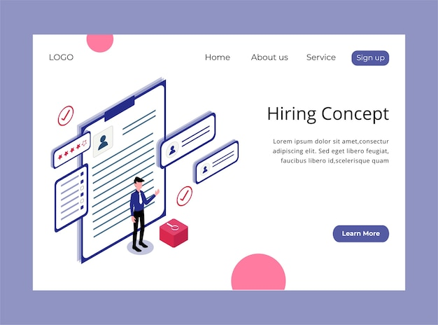 Isometric landing page of hiring concept