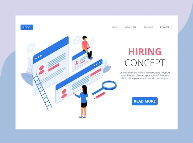 Isometric landing page of hiring and recruitment