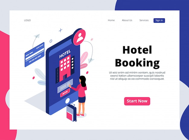 Isometric landing page of hotel booking