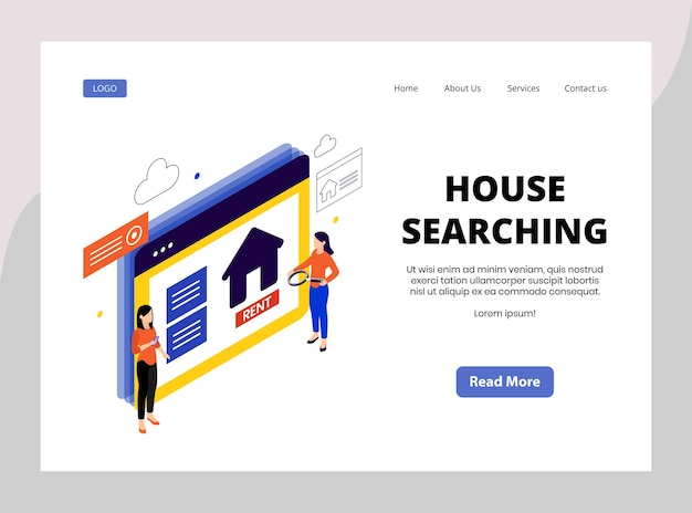 Isometric landing page of house searching