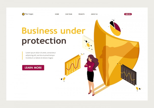 Isometric landing page of how to ensure full safety of your business, lawyer girl.