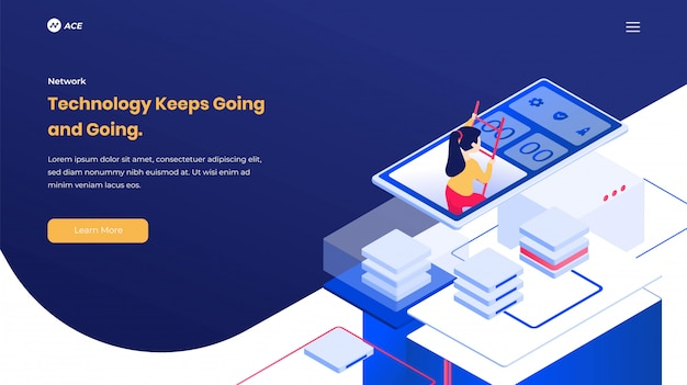 Isometric landing page information tecnology