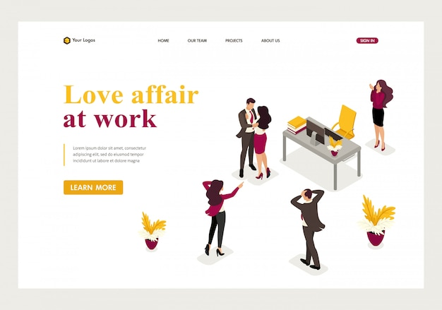 Isometric landing page of love affair at work, colleagues shocked love colleagues.