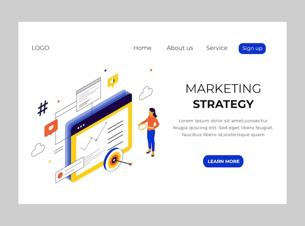 Isometric landing page of marketing strategy