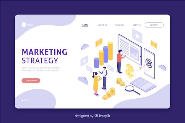 Isometric landing page for marketing strategy