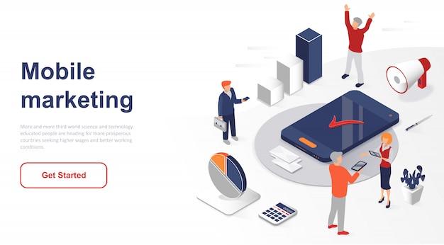 Isometric landing page mobile marketing or advertising