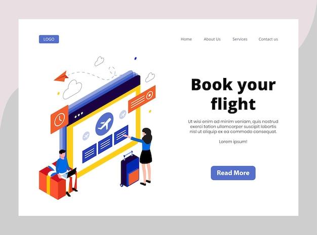 Изометрическая целевая страница бронирования вашего рейса