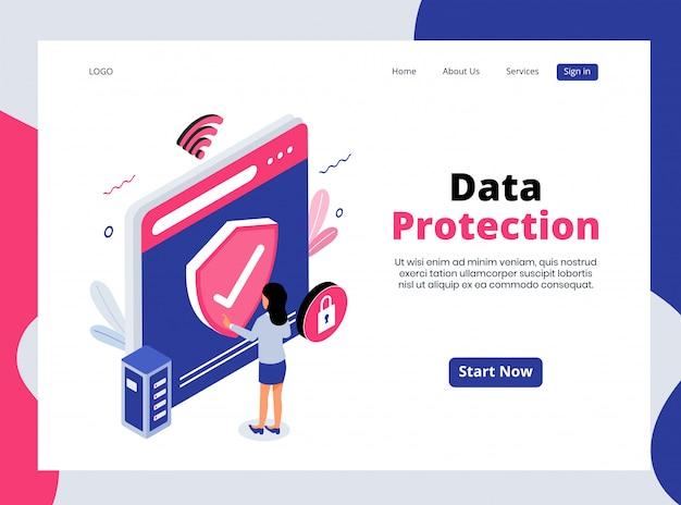 Изометрическая целевая страница защиты данных