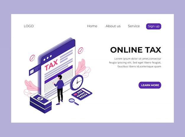Изометрическая целевая страница онлайн-налога