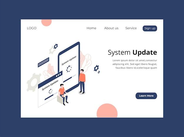 システムアップデートのアイソメトリックランディングページ