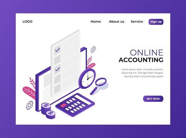 Isometric landing page of online accounting