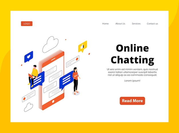 Isometric landing page of online chatting