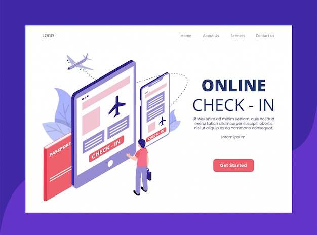 Isometric landing page of online check-in concept