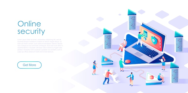 Isometric landing page online data security or applications flat concept