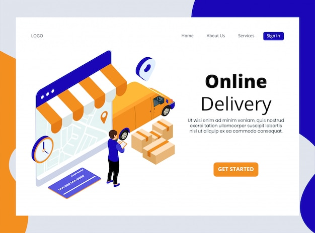 Isometric landing page of online delivery