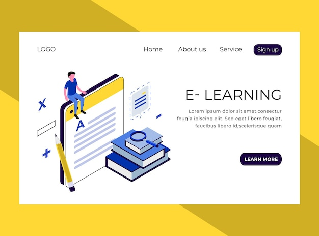 Isometric landing page of online learning