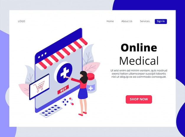 Isometric landing page of online medical