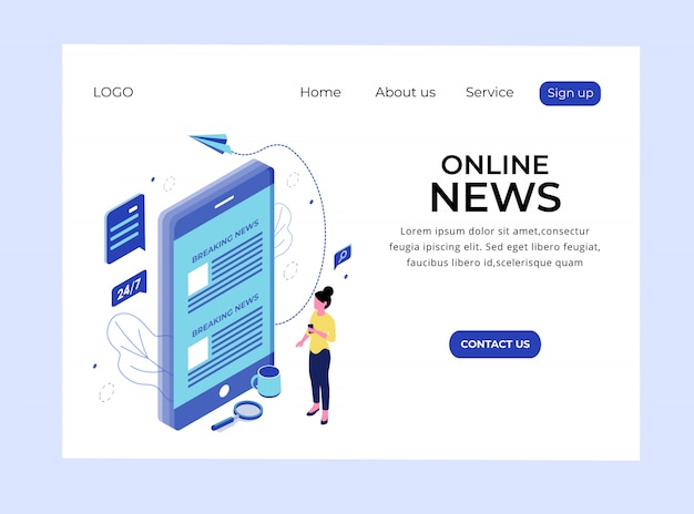 Isometric landing page of online news