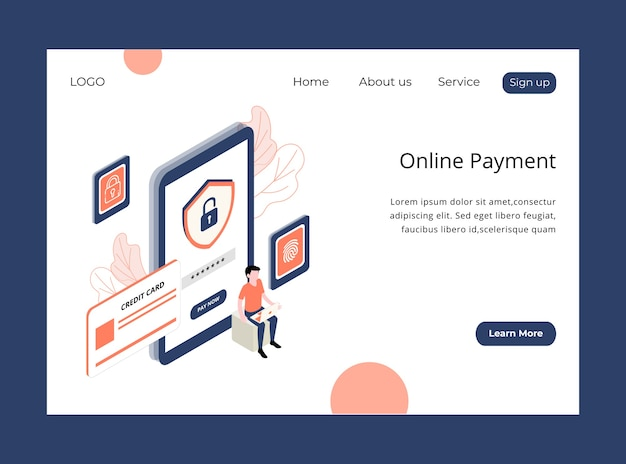 Isometric landing page of online payment