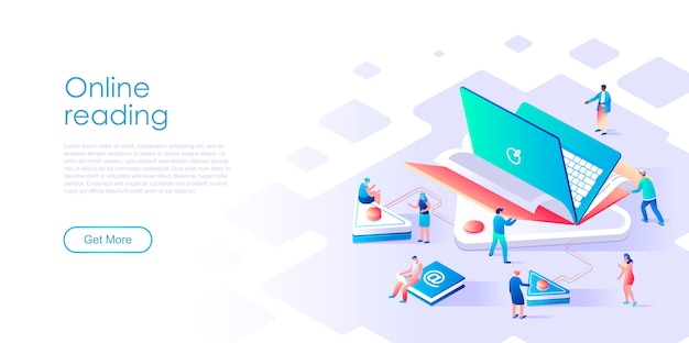 Isometric landing page online reading or e-book flat concept