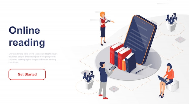 Isometric landing page online reading or e-book