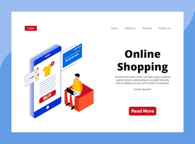 Isometric landing page of online shopping